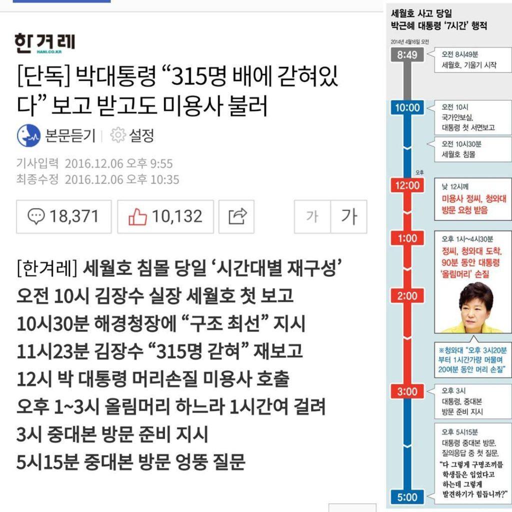 sewol ferry 7hours 1024x1024 박근혜 세월호 7시간 미용실 90분 조기탄핵 촉구 구속수사