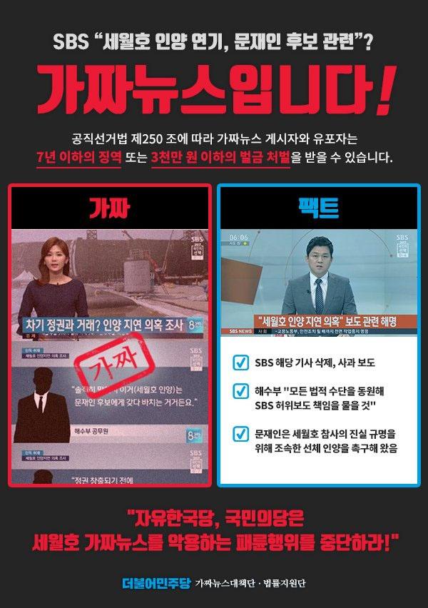 fake news 문재인 대통령 후보 세월호 거래 보도한 SBS 가짜뉴스