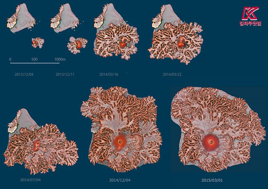 nishino island size 오가사와라제도 니시노시마 화산분화로 면적확대 해도변경