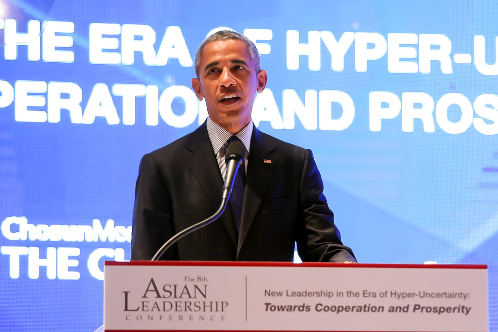 미국 오바마 전 대통령 연설 1024x683 오바마 한국 방문! 트럼프 정부와 신뢰도 격차가 가장 큰 나라