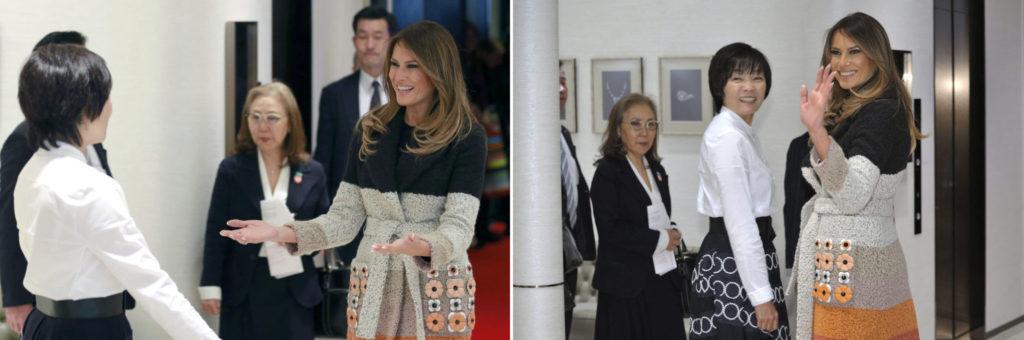 일본방문 멜라니아 트럼프와 아베 아키에 1024x340 트럼프 대통령 일본방문! 에어포스원 요코타 비행장 착륙
