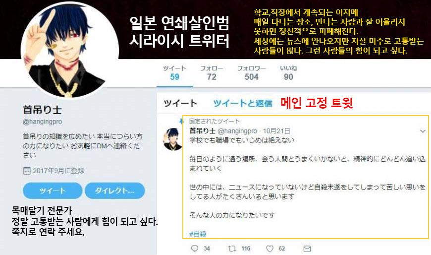 일본 연쇄살인범 트위터 일본 엽기 살인사건의 희생자는 20세 전후의 젊은이들, 9명 살해동기와 범인 분석