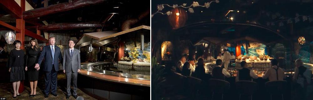 트럼프 방문 도쿄 스테이크 철판요리 맛집 아베 주최 트럼프 만찬회의 사케와 와인! 연예인 피코타로와 요네쿠라 료코