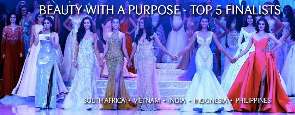 Top 5 Finalists of Beauty with a Purpose 1024x400 미스월드 2017 우승자는 인도 의대생, 김하은 아시아 미의 여왕