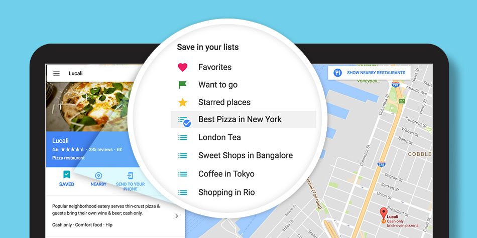 구글지역가이드 내 지도목록 PC용 구글 지도에서 내 목록 작성 및 공유 가능