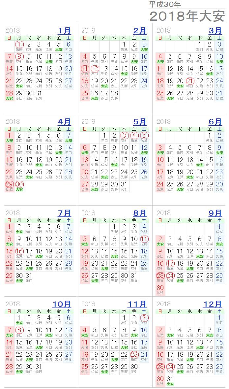 2018년 일본 길일달력 2018년 일본의 길일, 음력달력과 날짜 계산기