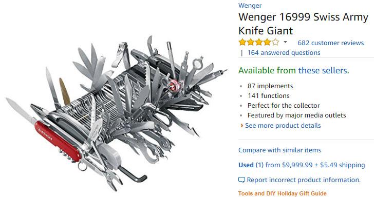 Wenger 16999 Swiss Army Knife Giant 웽거 스위스 아미나이프, 1천만원의 중고 맥가이버칼이 화제