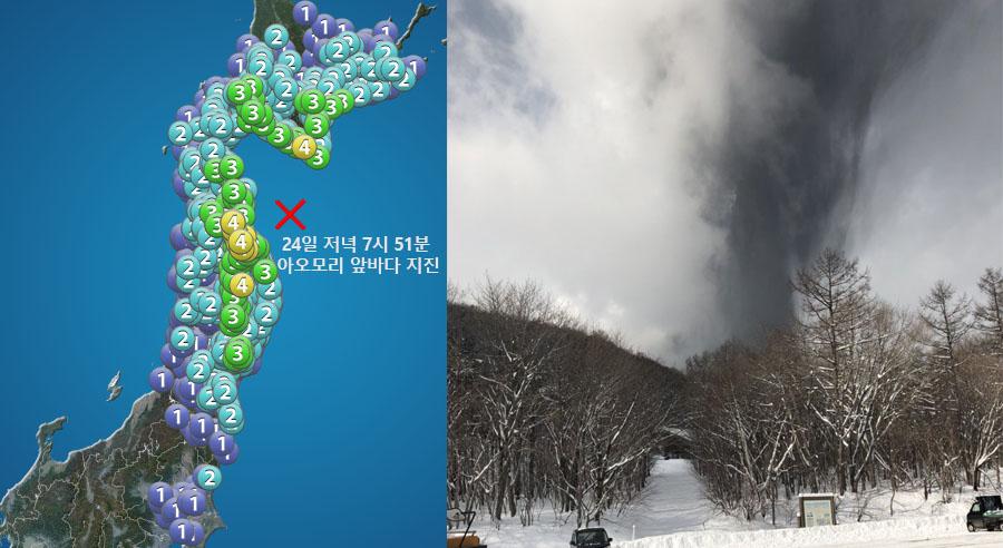 일본화산폭발과 지진 스키어 촬영 일본 군마현 쿠사츠 화산폭발 영상과 지진