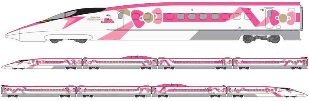 키티 신칸센 1024x336 JR서일본, 핑크리본의 헬로키티 신칸센 운행