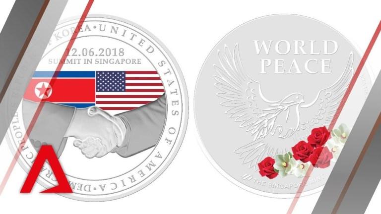 singapore mint unveils commemorative medallions for trump kim summit 싱가포르 북미정상회담까지 1주일! 대북제재 완화 주시하는 북한
