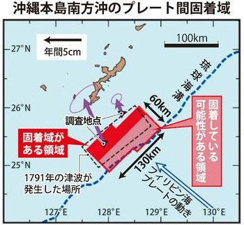 오키나와 지각판이동 일본 오키나와 류큐해구에서 대지진 발생 가능성
