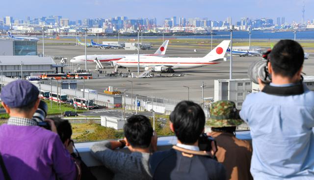 haneda 일본정부전용기 신구 일본정부전용기 하네다공항에 나란히 주기