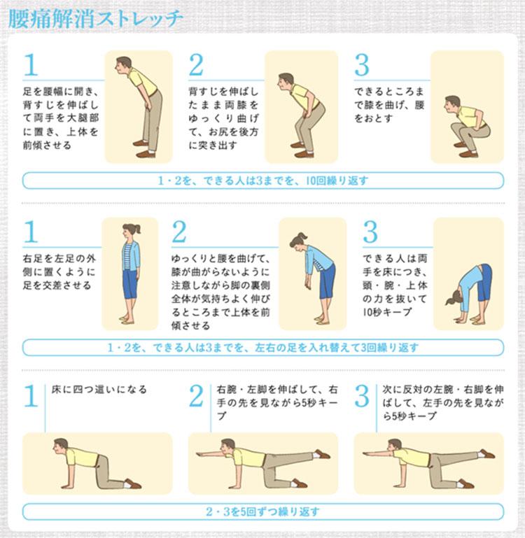 요통완화 스트레칭 화제의 급성요통 치료! 허리통증 예방 3초 스트레칭 동작 및 자세