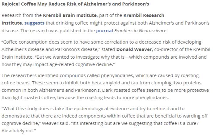 Coffee Reduces Risk of Alzheimer's 쓴맛이 강한 프렌치로스트 커피가 치매와 파킨슨병 예방