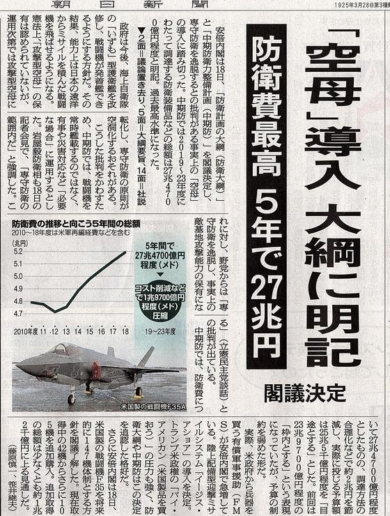 일본방위비 항모 일본 방위비 27조엔대! 트럼프 압력으로 F35 등 미국무기 대량구매