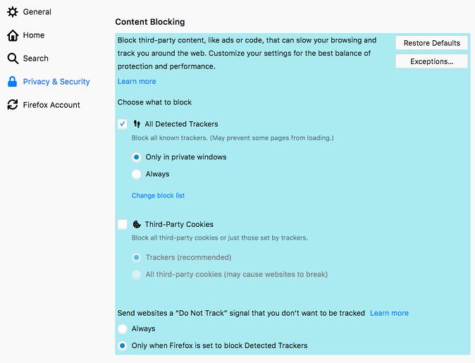 firefox setting 웹사이트 트윗글이 안보여요! 파이어폭스 콘텐츠차단 해제