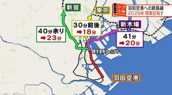 하네다공항 직통전철 신주쿠역 23분! 하네다 공항~도쿄 도심 직통 신 철도노선 건설
