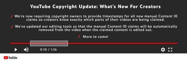 content ID claims 유튜브, 저작권 위반 이의신청에 타임스탬프 표시 의무화