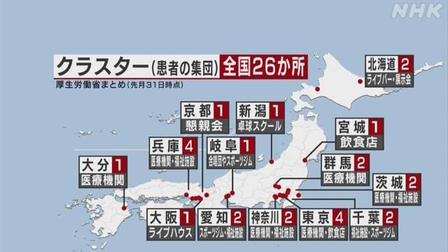 감염자집단클러스터 맵 일본 코로나 감염자집단(클러스터) 14개 지자체 26곳에서 발생
