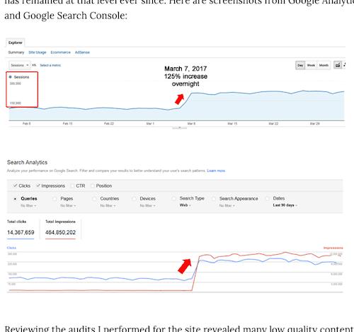 site traffic 구글 알고리즘 프레드 업데이트로 사이트 순위가 떨어진 경우