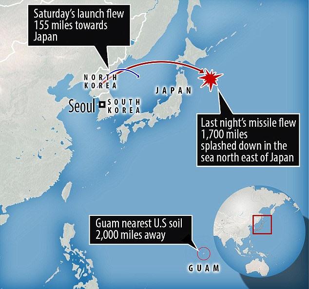 북한 미사일 일본 상공 통과 북한 평양에서 탄도미사일 발사, 일본 상공 통과 2,700km비행
