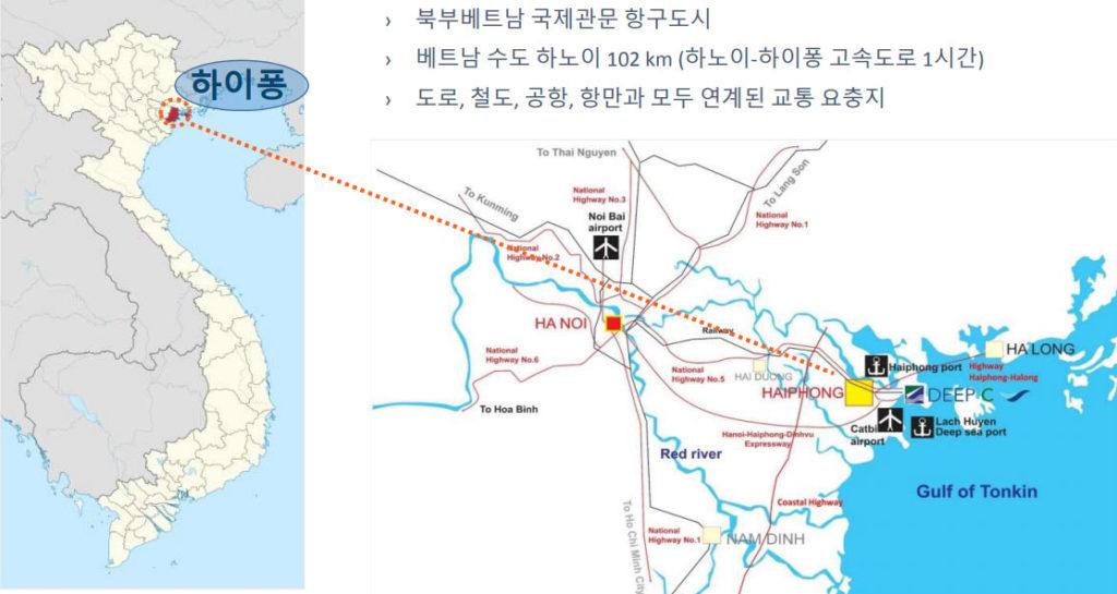 베트남 하이퐁 위치 1024x545 일본기업 하이퐁에 베트남 최장의 락후옌 해상대교 완공