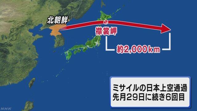 북한 탄도미사일 발사 일본상공 통과 북한 탄도미사일 6번째 일본 상공 통과! 북해도 2000km 지점 낙하