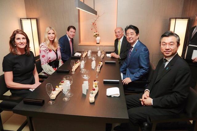 이방카 아베 일본총리 만찬 일본방송 이방카 트럼프 생중계, 아베의 극진한 대접과 그녀의 패션 스타일