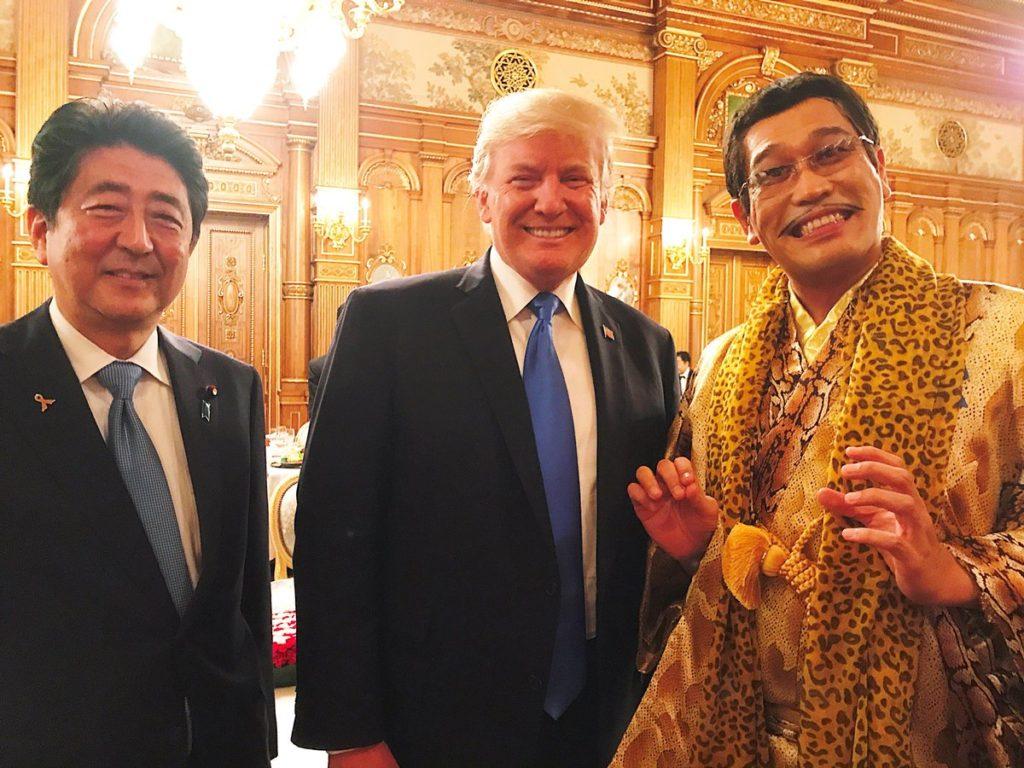 piko abe trump1 1024x768 아베 주최 트럼프 만찬회의 사케와 와인! 연예인 피코타로와 요네쿠라 료코