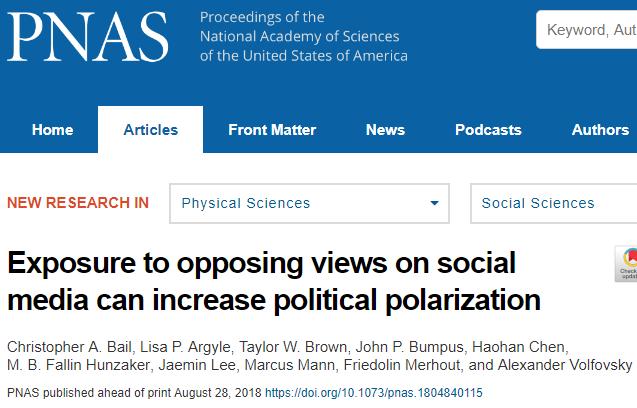 PNAS 정치적 견해가 다른 트윗은 오히려 양극화 심화