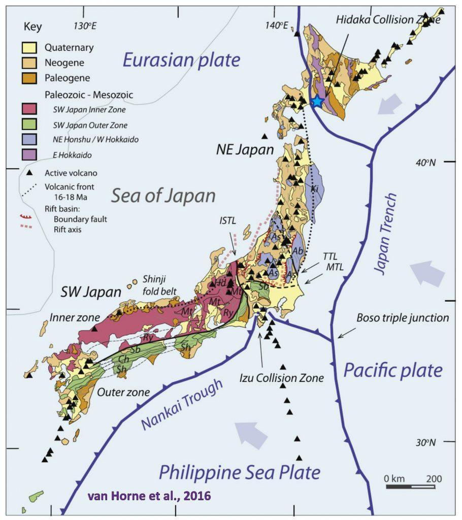 일본지질지도 일본 홋카이도 지진은 지각판 슬리버 충돌지역에서 발생
