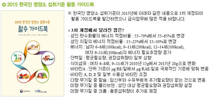 한국인 영양소 섭취기준 활용 가이드북 천천히 먹는 슬로우 칼로리 프로젝트와 영양소 섭취기준