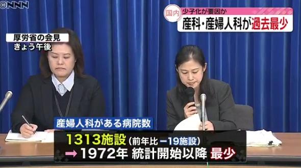 산부인과 일본의 산부인과, 소아과 병원 지속적 감소