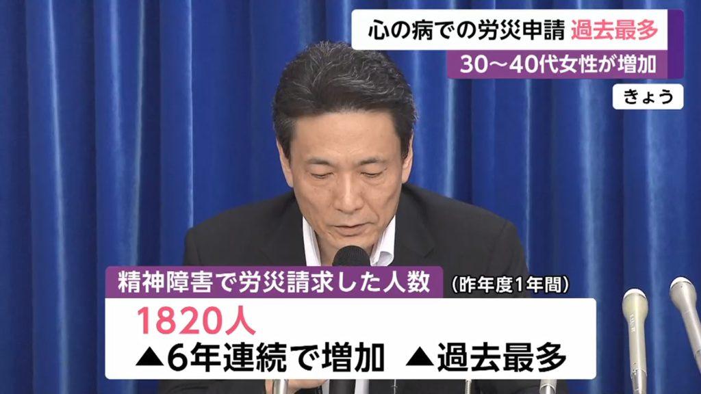 정신장애 산재 1024x576 일본 우울증 등 정신장애 산재신청 역대 최다! 30~40대 여성 증가