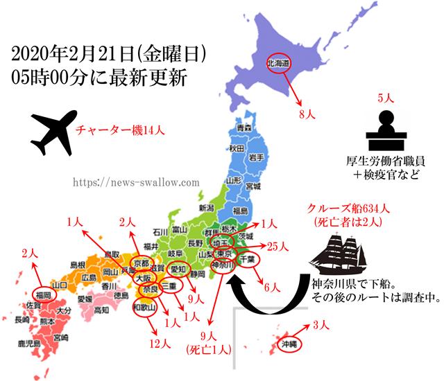일본코로나확진자수 21일 일본 신종 코로나 확진자 744명(+16)! 크루즈선 634명 포함