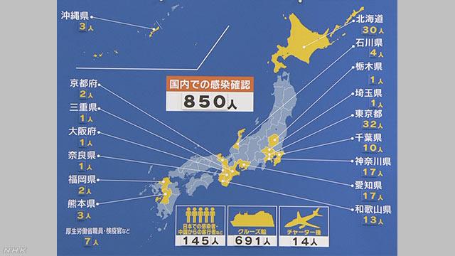 일본코로나확진자 850명 24일 일본 신종 코로나 확진자 851명(+13)! 크루즈선 근무 공무원 2명 감염