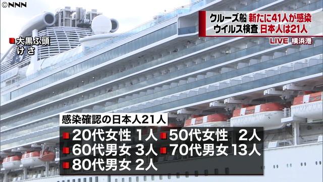 크루즈선 집단감염 61명 일본 크루즈선 신종 코로나바이러스 추가 확진자 44명 총 64명 집단감염