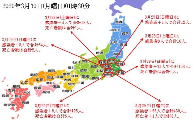 간토지방 코로나확진자 29일 일본 신종코로나 확진자 2605명(+169) 도쿄와 치바현 집단감염 발생