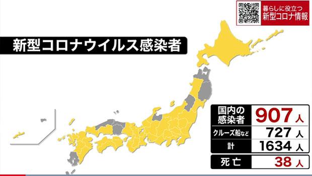 일본코로나확진자0318 18일 일본 신종 코로나바이러스 확진자 1634명(+42), 사망자 38명(+2)