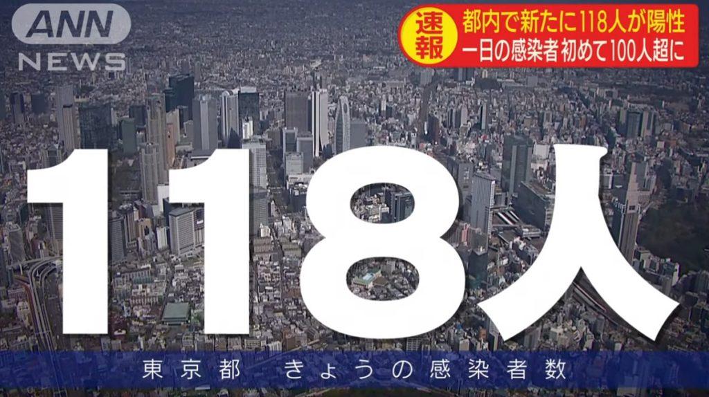 도쿄코로나확진자 최대치경신 1024x574 일본 도쿄 코로나 확진자 118명으로 급증! 집단감염도 연일 발생