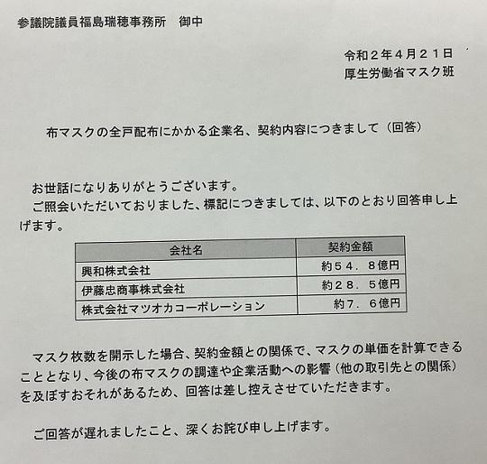 아베마스크 비용 일본 천 마스크(아베노마스크) 이토추상사 등 3개사와 90억엔에 계약