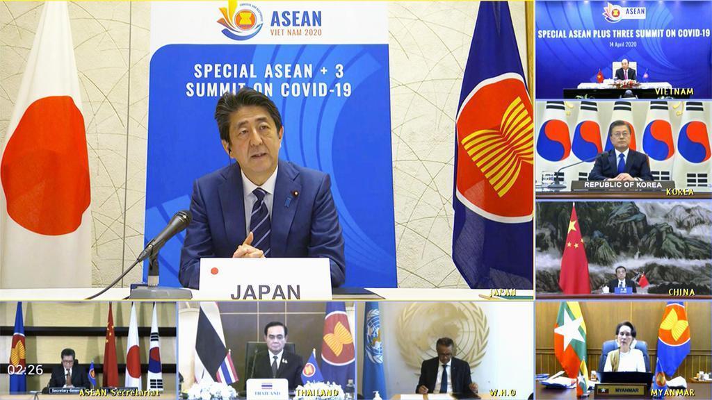 아세안3 특별 화상 정상회의 14일 일본 코로나 확진자 482명, 사망자 일일 최다! '아세안+3' 화상 정상회의