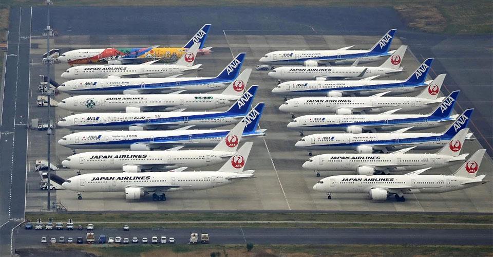 항공기 주기 일본 항공사 골드위크 연휴 국제선 예약 97% 감소! 국내선도 10%에 불과