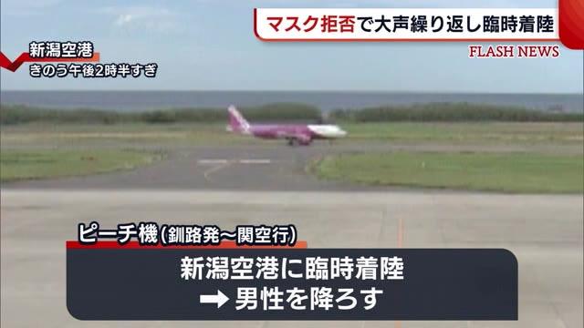 기내마스크착용 일본 피치항공 승객 마스크 착용 거부, 니이가타공항에 임시 착륙